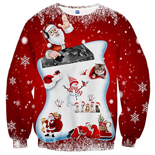Hgvoetty Ugly Christmas Sweatshirt Funny Red Xams Party