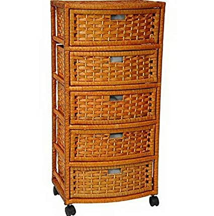 Amazon.com: Hebel Wicker 5 Drawer Dresser Casters Wheels ...