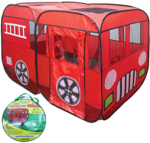 Fire Engine Truck Pop-Up Play Tent- with Side Door Entrance for Indoor/Outdoor