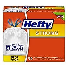 Hefty Strong Trash Bags (Tall Kitchen Drawstring, 13 Gallon, 90 Count)