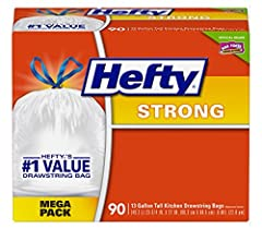 Trust Hefty Strong Drawstring Kitchen Trash Bags to provide the dependable strength you expect along with quick and easy closure at a budget-friendly price. These 13 gallon drawstring trash bags are designed to stand up to all of your toughes...