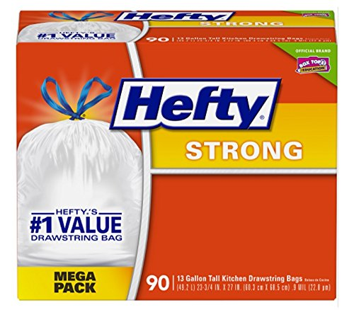 Hefty Strong Trash Bags (Tall Kitchen Drawstring, 13 Gallon, 90 Count)