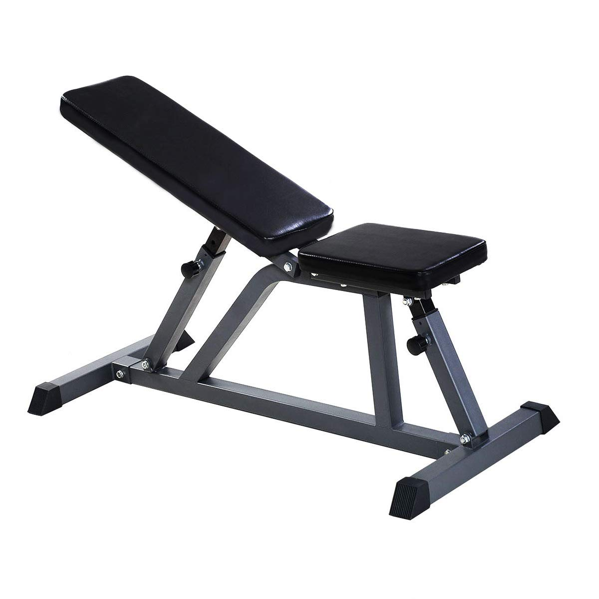 Goplus Sit Up Bench Adjustable Workout Utility AB Incline Flat Weight Bench 8-Position 440-lb Capacity (Upgraded Dense Pad Xmas New)
