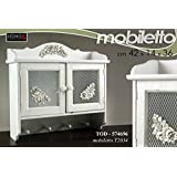 Mobile Pensile Cucina In Legno 42x14x36Cm Design Shabby Chic