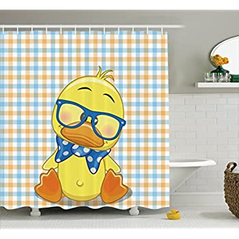 cartoon decor shower curtain set by ambesonne hipster boho baby duck with dotted bow cool free spirit smart geese artsy decor bathroom accessories