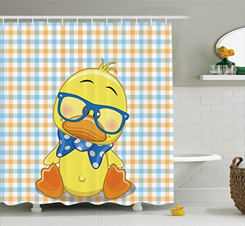 Ambesonne Cartoon Decor Shower Curtain Set, Hipster Boho Baby Duck with Dotted Bow Cool Free Spirit Smart Geese Artsy Decor, Bathroom Accessories, 69W X 70L inches, Orange Yellow Blue