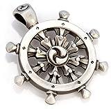Bico Dharmachakra Pendant (E321) - Buddhist wheel of law - Satin Silver Finished