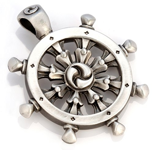Bico Dharmachakra Pendant (E321) - Buddhist wheel of law - Satin Silver Finished (Wheel Pendant)