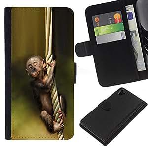 """Be-Star la tarjeta de Cr¨¦dito Slots PU Funda de cuero Monedero caso cubierta de piel Para Sony Xperia Z2 D6502 ( Mono Verde Naturaleza linda Bosque beb¨¦"""" )"""