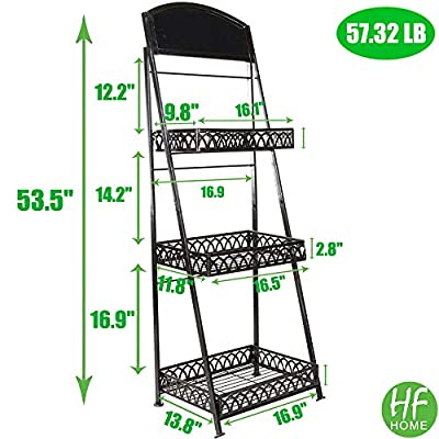 3 Tier Oil Brush Farmhouse Metal Plant Stand With Decorative Chalkboard Outdoor Indoor Heavy Duty Metal Storage Shelves Rack Ladder-Shaped Display Stand Bookshelf - Black (Ship from US) : Garden & Outdoor