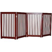 PawHut Wood Freestanding Pet Dog Gate Door Adjustable Divider Fence, 72.4-Inch Length x 30.7-Inch Height, Dark Red
