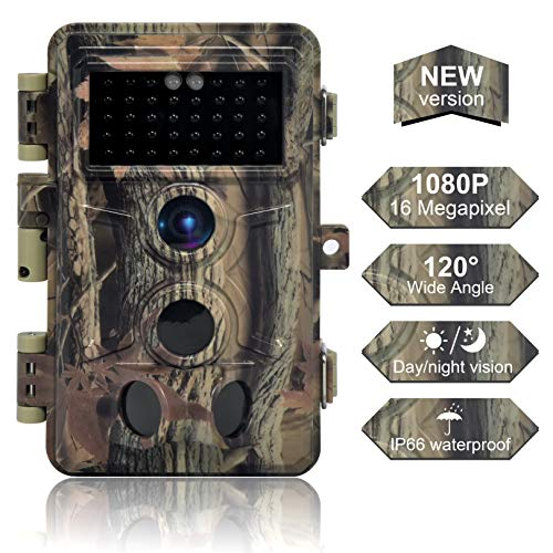DIGITNOW Trail Camera 16MP 1080P, Game Camera with No Glow LED Infrared Night Vision Up to 65Ft, Waterproof Wildlife Hunting Cameras with 120