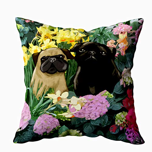 Capsceoll Christmas Pugs fine Art Gifts Decorative Throw Pillow Case 20X20Inch,Home Decoration Pillowcase Zippered Pillow Covers Cushion Cover with Words for Book Lover Worm Sofa Couch