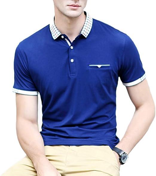 NDHSH Camisa Polo para Hombre Camisetas de algodón Top Manga Corta ...