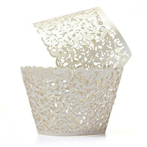 WSERE 60 Pieces Cupcake Wrappers, 7 Colors Lace Liner Muffin Paper Cake Wraps Decorations, Safety Health for Wedding Party Birthday Decor(Cream Color) ()