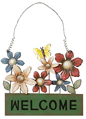 Your Hearts Delight Welcome Flower Box Wall Hanging, 8-3/4 by (Flower Heart Plaque)