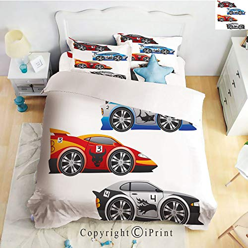 ece Sheet Set,deep Pocket Fitted Sheet,Flat Sheet,2 Pillow Cases,Collection of Formula Race Cars Modern Mechanical Technology Automotive Championship,Multicolor,Twin Size ()