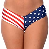 Women's Brazilian V-Style Swimuit USA Stars & Stripes Bikini Bottom (Medium, USA)