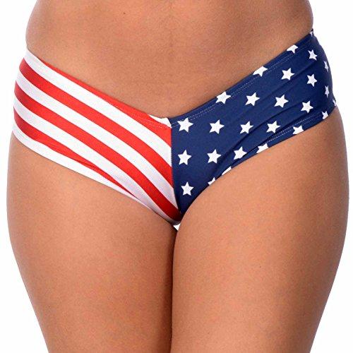 Bottom Full Swimwear American Bikini (Women's Brazilian V-Style Swimuit USA Stars & Stripes Bikini Bottom (Medium, USA))