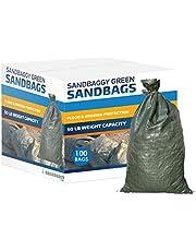 "Sandbaggy - Empty Poly Sandbags W/UV Protection - Size: 14"" x 26"" - Color: Green - Military Grade (100 Bags)"