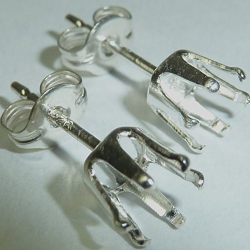 Sterling Silver Snap in to Set 6 Prong Round Earring Pair - Mounts Settings Earring