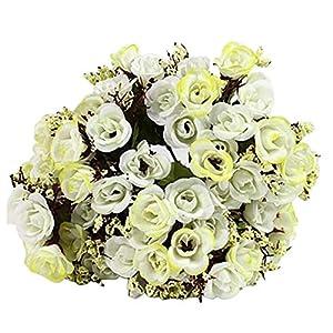MARJON Flowers1 Bouquet Artificial Rose Babysbreath Silk Fake Flower Leaf Home Wedding Decor - Creamy 99