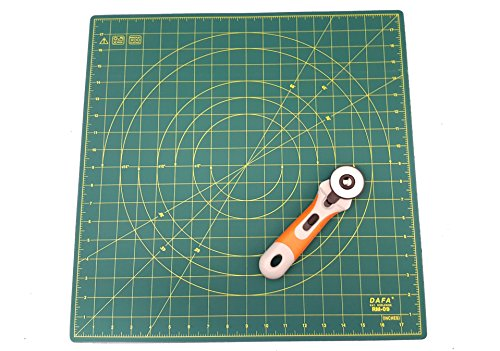 DAFA 360° Rotating Self Healing Cutting Mat 18'' x 18'' Includes a Quilted Bear Rotary Cutter by Quilted Bear