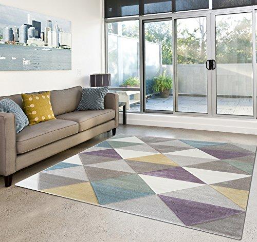 Amazon De Anka Design Moderner Teppich Wohnzimmer Kurzflor Geomet