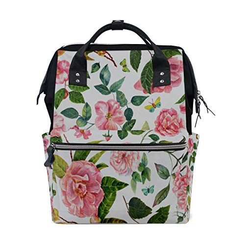 Glorious Lady Camellia Large Capacity Diaper Bags Mummy Backpack Multi Functions Nappy Nursing Bag Tote Handbag for Children Baby Care Travel Daily Women