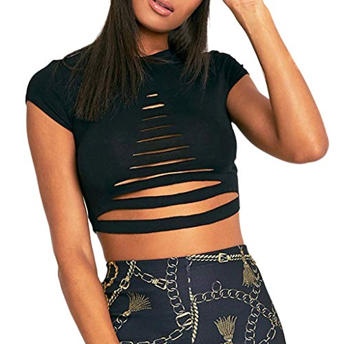 (Mysky Women Sexy Triangle Striped Hollow Out Short Tops Blouse Ladies Summer Casual Solid Color Short Sleeve T-Shirt Black)