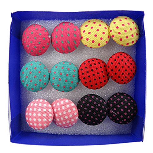 Cute 6 Pairs Vintage Colorful Cloth Button Studs Earrings Plastic Pin Ear Jewelry ()