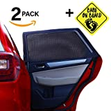 ATK Essential Products Car Window Shades For Baby -2019 Premium Version -Breathable Mesh -Protect Kids/Pets From Sun - Easy Fit - Universal Fits Most Models | 2 Pack + Baby On Board Sticker