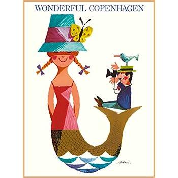 Copenhagen Little Mermaid Minimalistic Travel Poster Print Artwork Advertising