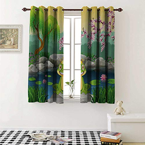 shenglv King Decor Curtains by Fairytale Inspired Cute Little Frog Prince Near Lake on Moss Rock with Flowers Image Curtains Girls Bedroom W63 x L63 Inch Multicolor