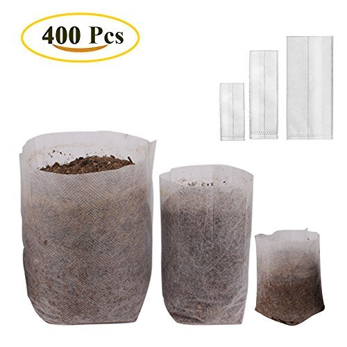 "Benail 400Pcs Degradable Non-Woven Plant Nursery Bags Plant Seeding Bags (100 Pcs 7.09"" x 7.87""; 200 Pcs 4.72"" x 5.90""; 100 Pcs 5.51"" x 7.09"")"