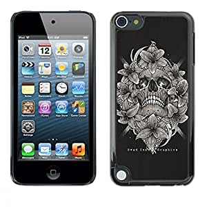 Be Good Phone Accessory // Dura Cáscara cubierta Protectora Caso Carcasa Funda de Protección para Apple iPod Touch 5 // Skull Black White Floral Wreath Death