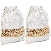 Ecohub Set of 2 White Gold Jute Potli Bags with Drawstrings for Gifting & Everyday Storage