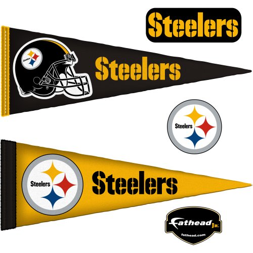 (Fathead NFL Pittsburgh Steelers Pittsburgh Steelers: Pennants - Large Officially Licensed NFL Removable Wall Decal)