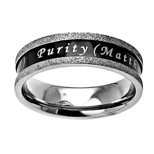 Christian Womens Stainless Steel Abstinence Black Ebony Champagne Purity Chastity Ring for Girls -