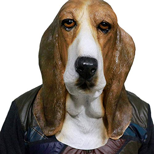 Dog Animal Head Latex Mask, Halloween Cosplay Costume Props Party Fancy Dress up (Bowser Basset Hound Mask)]()