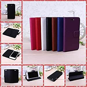 TOPMM Solid Color Litchi Texture Full Body Leather Case with Stand for iPhone 6(Assorted Colors) , Purple