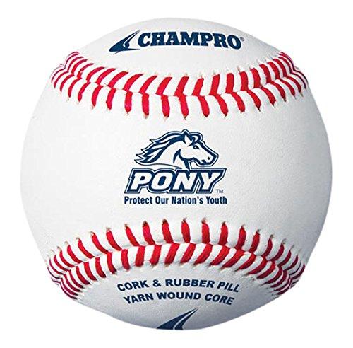(CHAMPRO Pony League Baseball, Full Grain Leather Cover Pony League Baseball, 12)