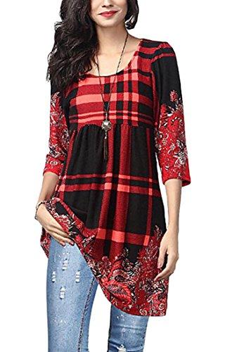Sleeve Embroidery Patchwork Jaycargogo Fashion Long Plaid Womens 3 Mini Dress XwCC7xqat