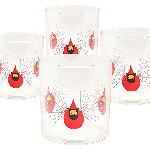 Charley Harper Cardinal Double Old Fashioned Set of 4 Glasses