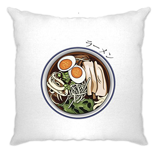Ramen fideos Alimentos Asia Tasty kawaii Huevos verduras saludables Cushion Cover, Blanco, 1