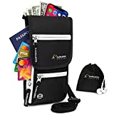 Passport Holder - Travel Wallet - Travel Pouch - Neck Wallet - Travel Money Belt - Hidden Wallet