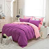 Ikevan 4 Pcs Bed Lovers Bed Linen Home Textile Holiday Lovers Bedding Set Duvet Cover Bed Pillowcases (1pc Duvet Cover,1pc Flat Sheet and 2pcs Pillowcases) (Full Size, Purple)