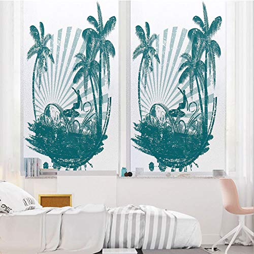 Ride The Wave 3D No Glue Static Decorative Privacy Window Films, Grunge Tropical Scene with Man Surfing Surreal Sports Adventure Illustration Decorative,24
