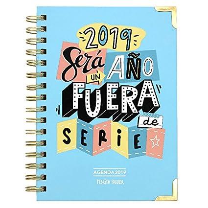 Pedrita Parker - Agenda semanal 2019 con mensaje Un año fuera de serie, A5, color azul