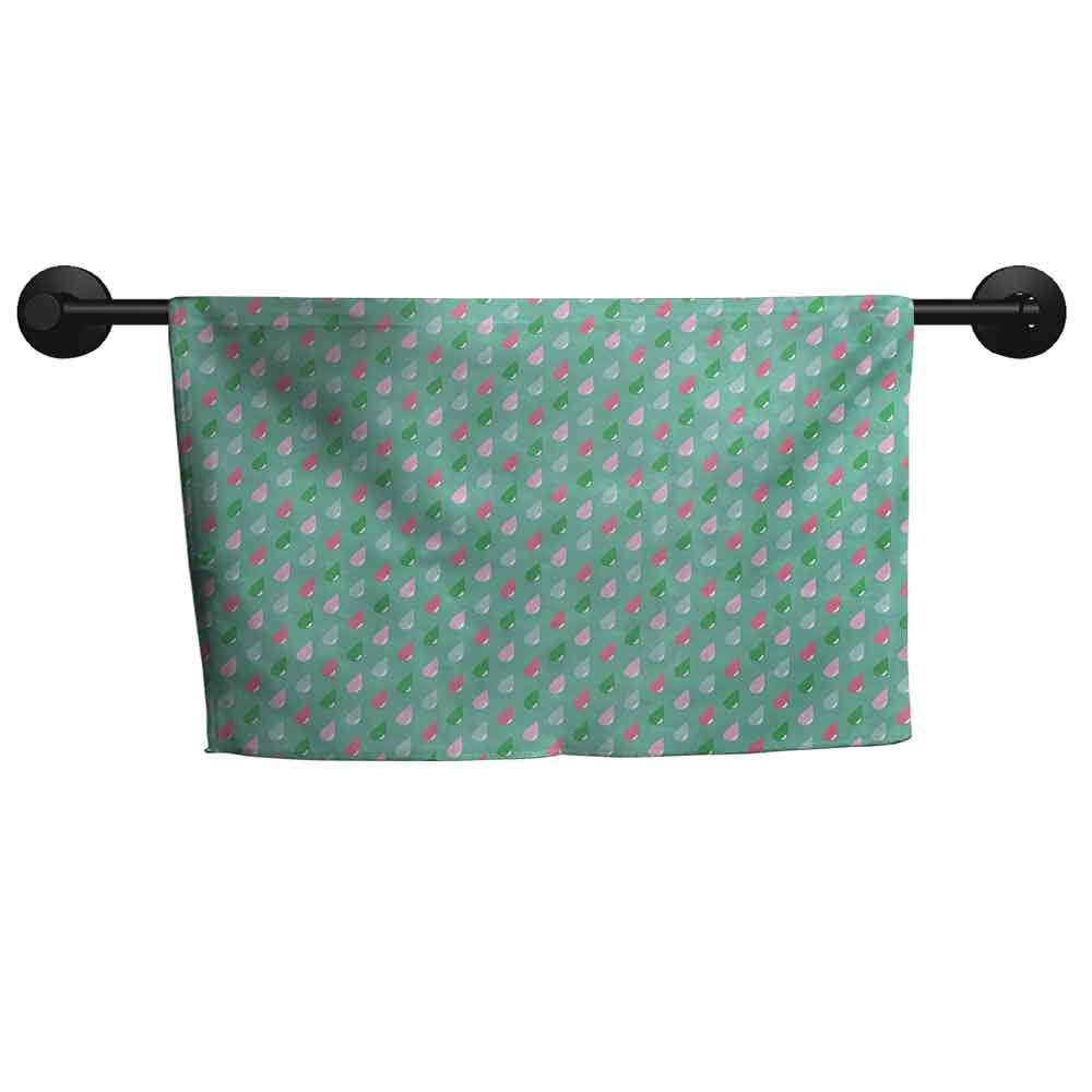 SONGDAYONE Sports Towel Kids Original Funny Teardrops Rain Shower Textured Pattern Children Kids Baby Girl Image Lightweight Towel Pink Green,W28 x L55